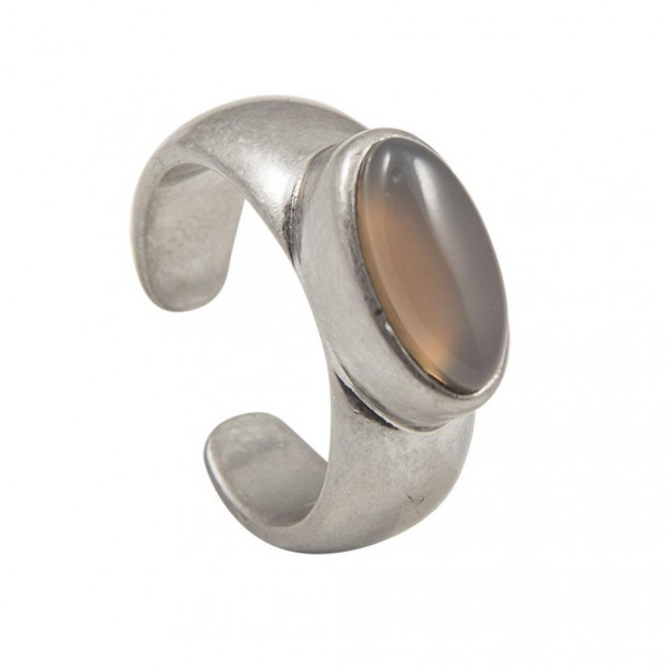 Sence Copenhagen Be Loud Ring Grey Agate worn silver S7