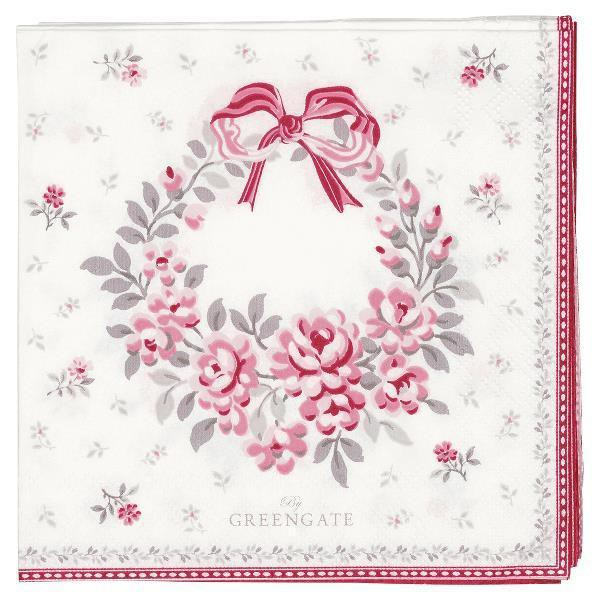 Greengate Papierservietten Flora White small Limited Edition