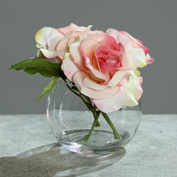 Rosen-Gesteck in Glasvase 15cm