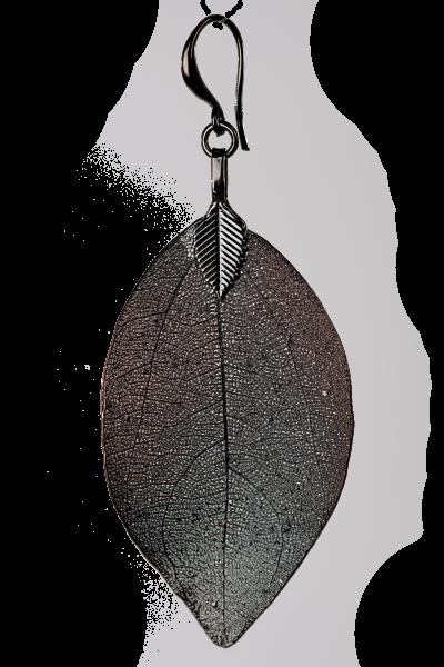 Blumenkind Blatt-Anhänger Edelstahl Grau, large