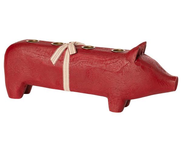 Maileg Kerzenhalter Adventsschwein Rot, gross