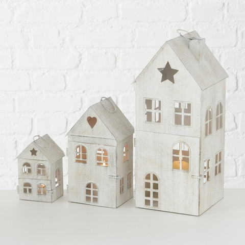 Windlicht / Laterne Haus H: 13 cm Weiss
