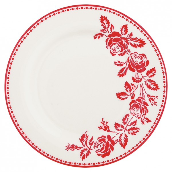 Greengate Porzellan-Teller Fleur red