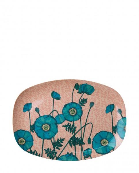 Rice Melamin Teller Oval Two Tone Blue Poppy Print