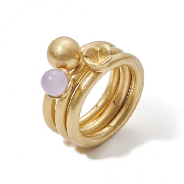 Sence Copenhagen Ring-Set Clover lavender jade matt gold S8