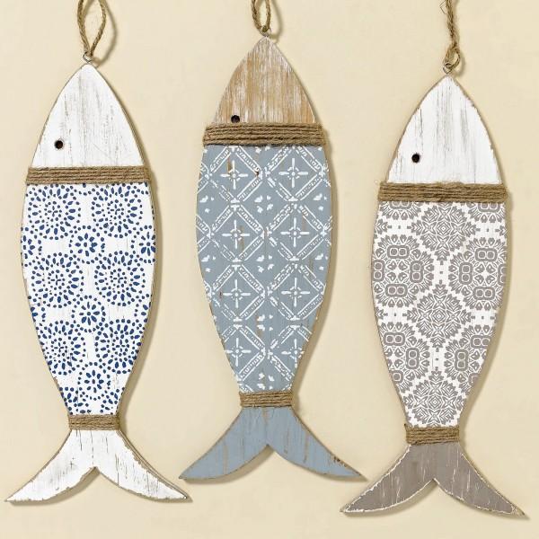 Hänger Deko-Fisch Holz 3 Farbvarianten