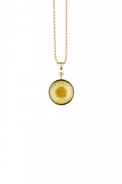 Blumenkind Anhänger Gold,  Blume Gelb