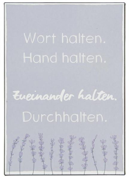 "Ib Laursen Metallschild ""Wort halten. Hand halten..."""