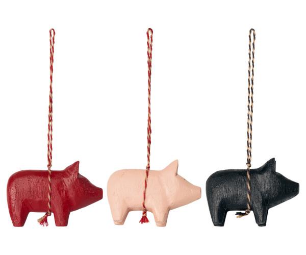 Maileg Anhänger Holzschwein 3-fach sortiert