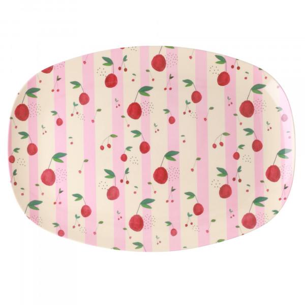 Rice Melamin Teller Oval Cherry Print