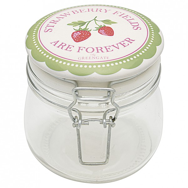 Greengate Aufbewahrungsglas Strawberry Pale Green 0,5 L