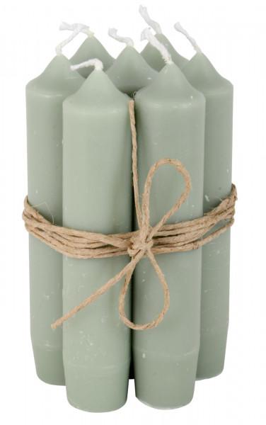 Ib Laursen Kerzen-10er Set, staubig grün