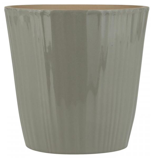 Ib Laursen Übertopf konisch mit Rillen Grau Ø 17,5 cm