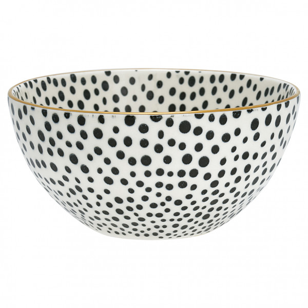 Greengate Bowl Dot black with gold medium