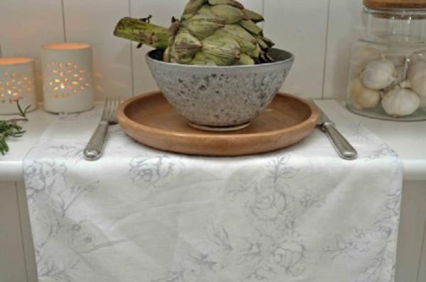 ArtefinaTischläufer Rose White/Grey