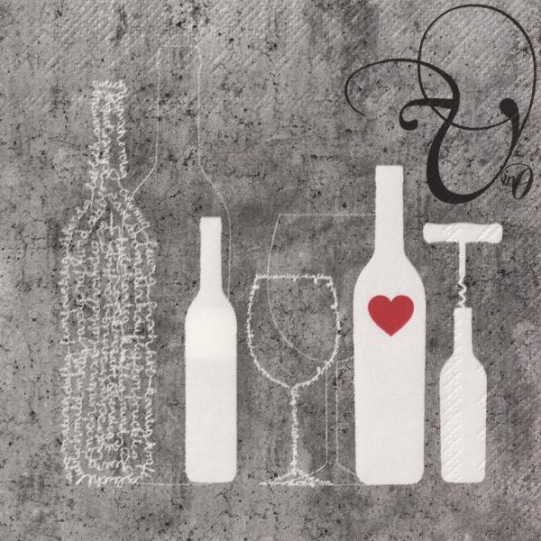 """räder Papierservietten Dining """"Flasche + Glas""""  20 Stück"""
