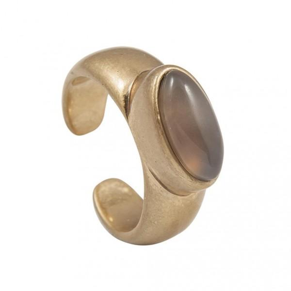 Sence Copenhagen Be Loud Ring Grey Agate worn gold S7