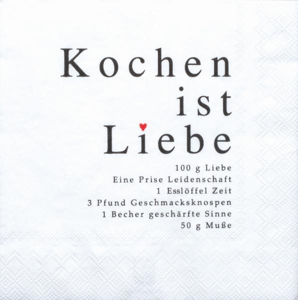 """räder Papierservietten """"Kochen ist Liebe""""  20 Stück"""
