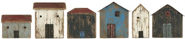 Ib Laursen Holzhäuser mit Tür, 6er Set