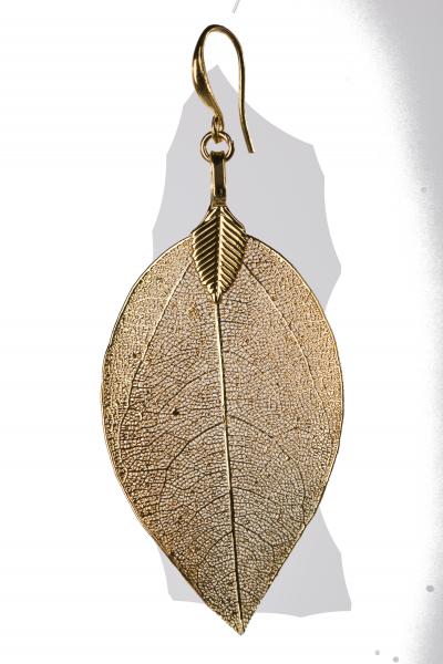 Blumenkind Blatt-Anhänger Edelstahl Gold, medium