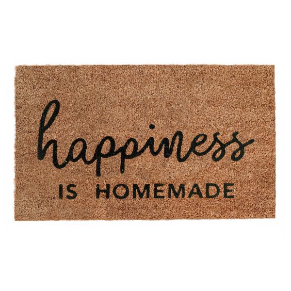 """Eulenschnitt Kokos Fussmatte """"Happiness is Homemade"""""""