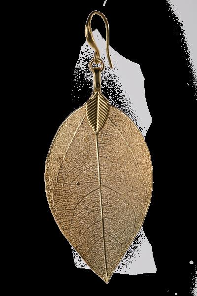 Blumenkind Blatt-Anhänger Edelstahl Gold, small