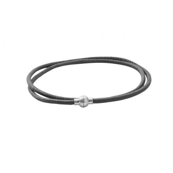 Sence Copenhagen Lederarmband / Kette dark grey matt silver