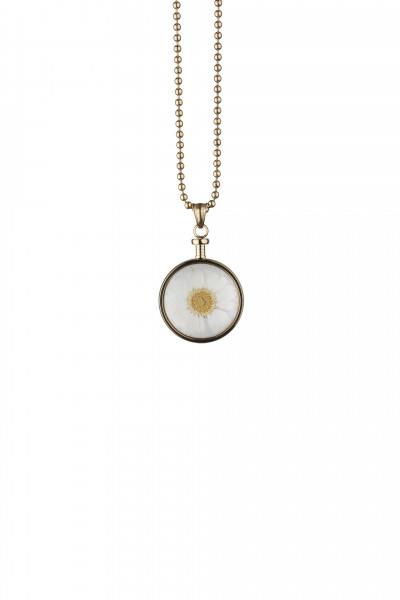 Blumenkind Anhänger Gold,  Blume Weiss