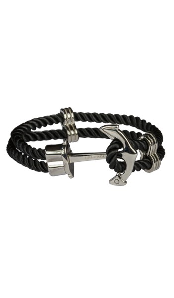 HAFEN-KLUNKER Anker Armband Edelstahl Textil schwarz silber 20 cm
