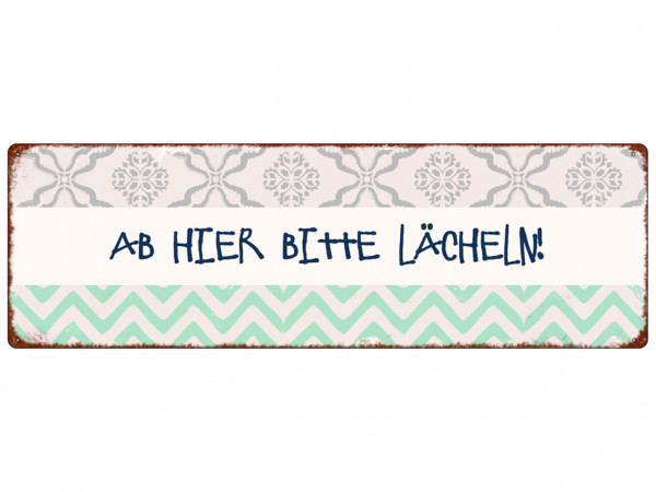 Interluxe Metallschild AB HIER BITTE LÄCHELN
