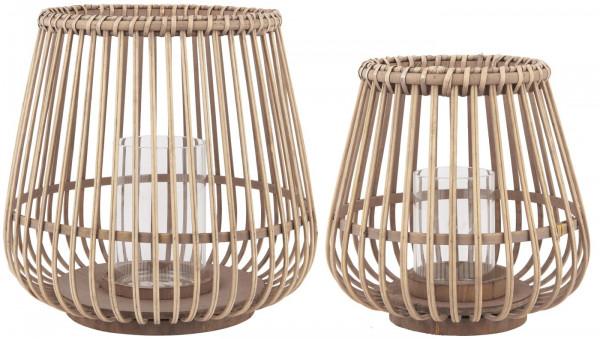 Ib Laursen Bambus Windlicht Hurricane mit Glaseinsatz H: 22 cm