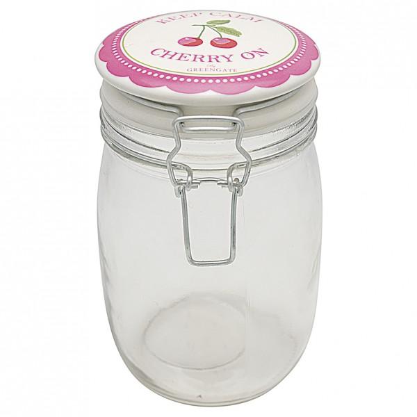 Greengate Aufbewahrungsglas Cherry Berry Pale Pink 1L