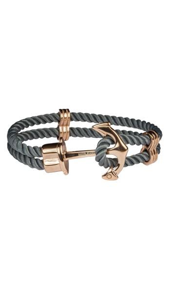 HAFEN-KLUNKER Anker Armband Edelstahl Textil grau rosegold 17 cm