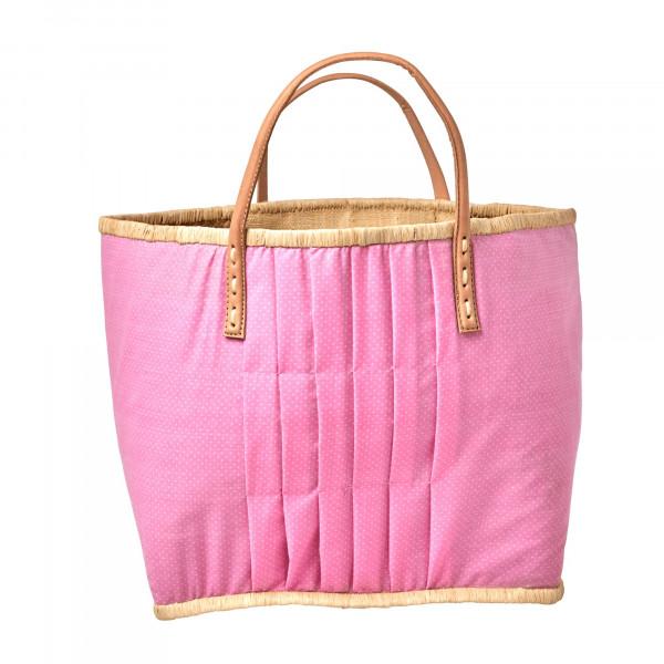 Rice Raffia Korbtasche Pink mit weißen Punkten mit Lederhenkel Large