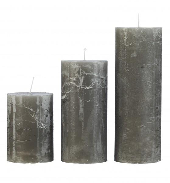 Cozy Living Stumpen-Kerze, Grau, H: 10cm