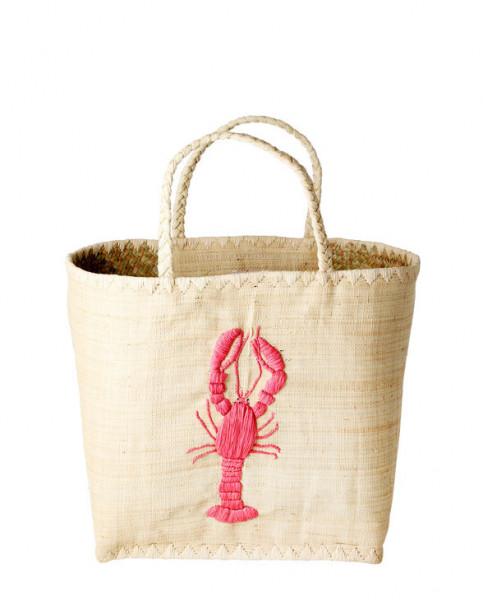 Rice Raffia Korbtasche Lobster Large