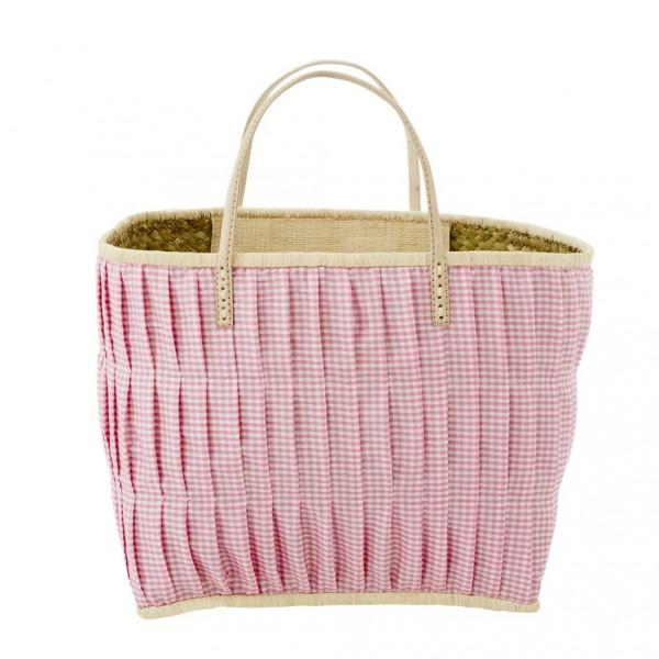 Rice Korbtasche Vichy-Karo Weiss/Pink