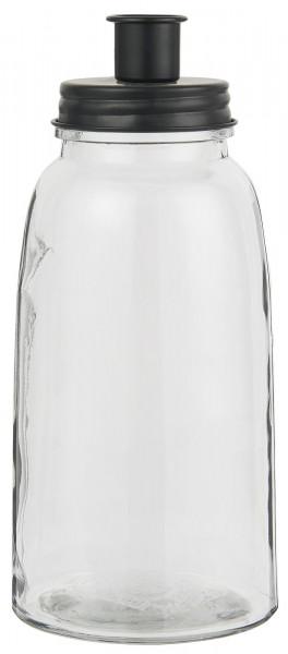 Ib Laursen Stabkerzenhalter Glas schwarzer Deckel Hoch