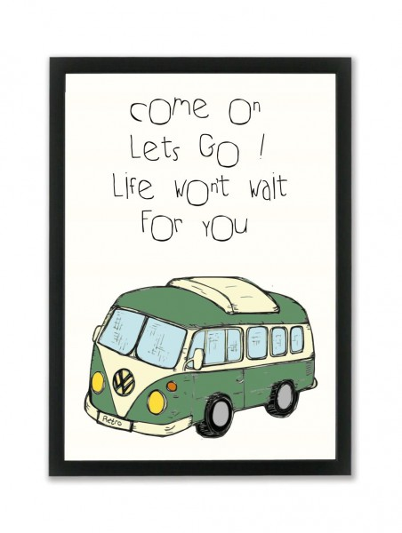 "Mouse and Pen Poster ""Come On Let´s Go Life..."" A4"