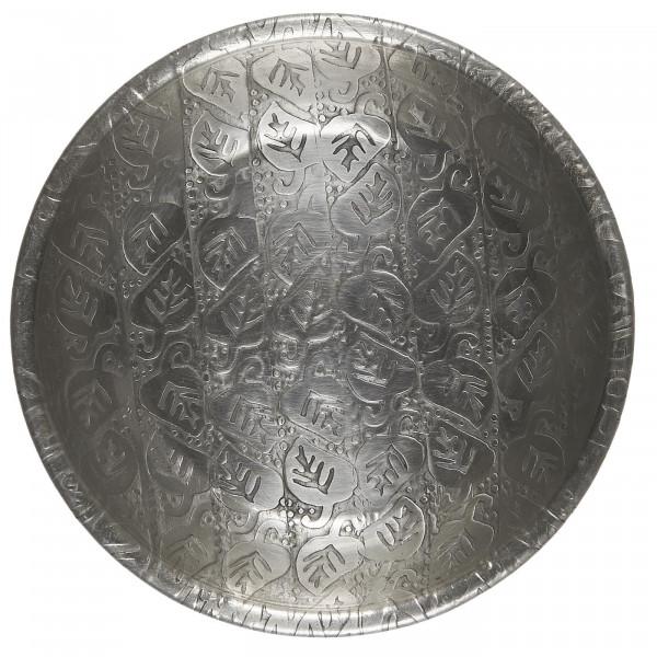 Ib Laursen Schale Blattmuster antikes Silberfinish