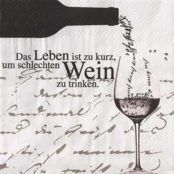 """räder Papierservietten Vino """"Das Leben ist zu kurz..."""" 20 Stück"""