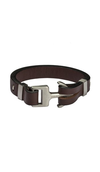 HAFEN-KLUNKER Anker Armband Edelstahl Leder braun silber matt 19 cm