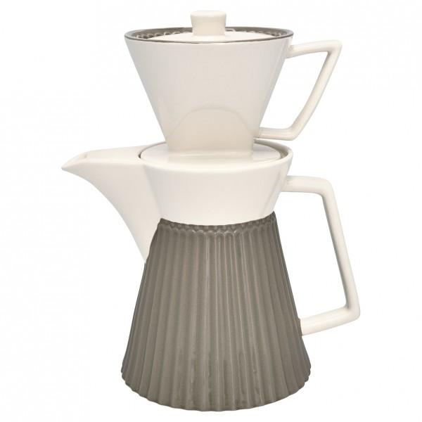 Greengate Kaffeekanne mit Filteraufsatz Alice warm grey