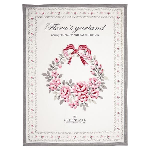 Greengate Geschirrtuch Flora White Piece Printed Limited Edition