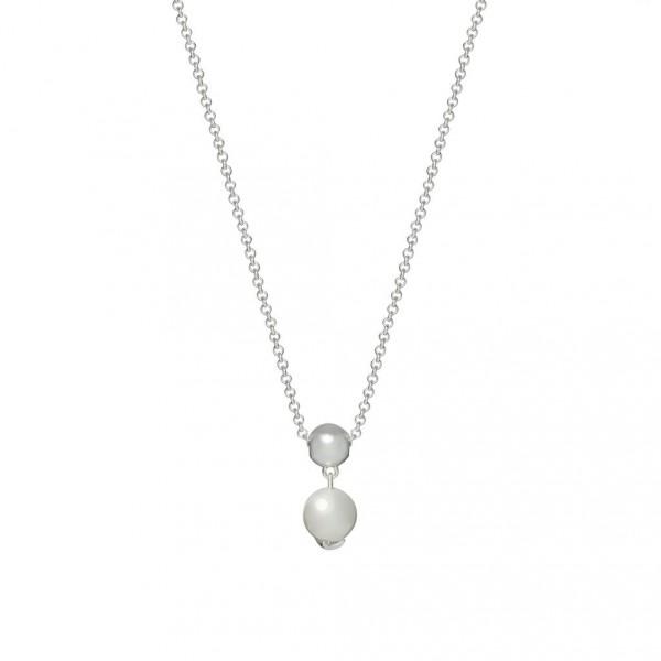 Sence Copenhagen XMAS Halskette Freshwater Pearls worn silver 45 cm
