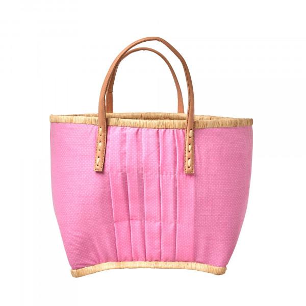 Rice Raffia Korbtasche Pink mit weißen Punkten mit Lederhenkel Medium