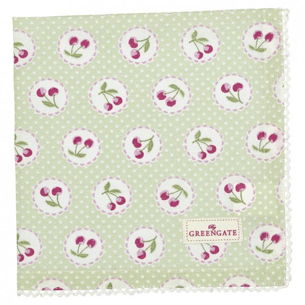 Greengate Stoffserviette Cherry Berry pale green