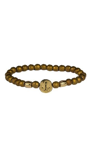 HAFEN-KLUNKER Anker Armband Edelstahl Hämatit gold vintage 19 cm