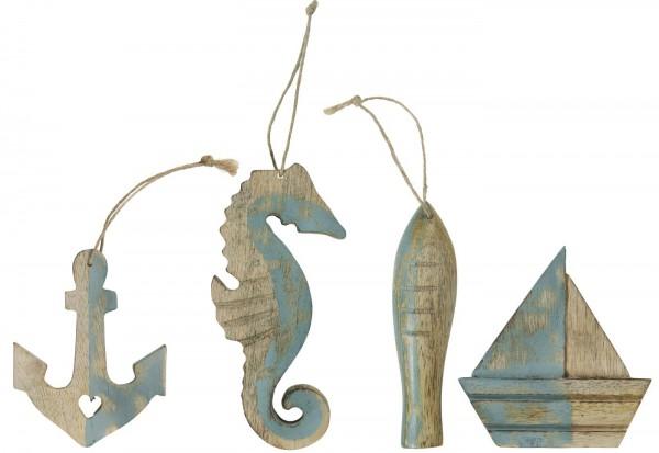 Ib Laursen Maritime Holzfiguren mit Juteschnur 4er-Set