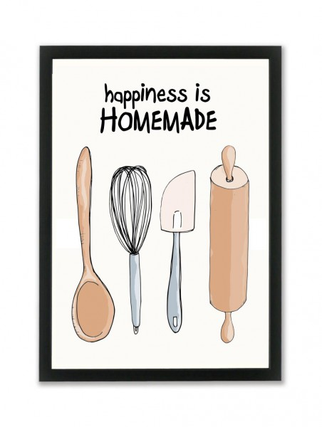 "Mouse and Pen Poster ""Happiness is Homemade"" A4"